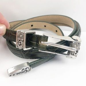 Brighton Leather embossed green belt Large 34